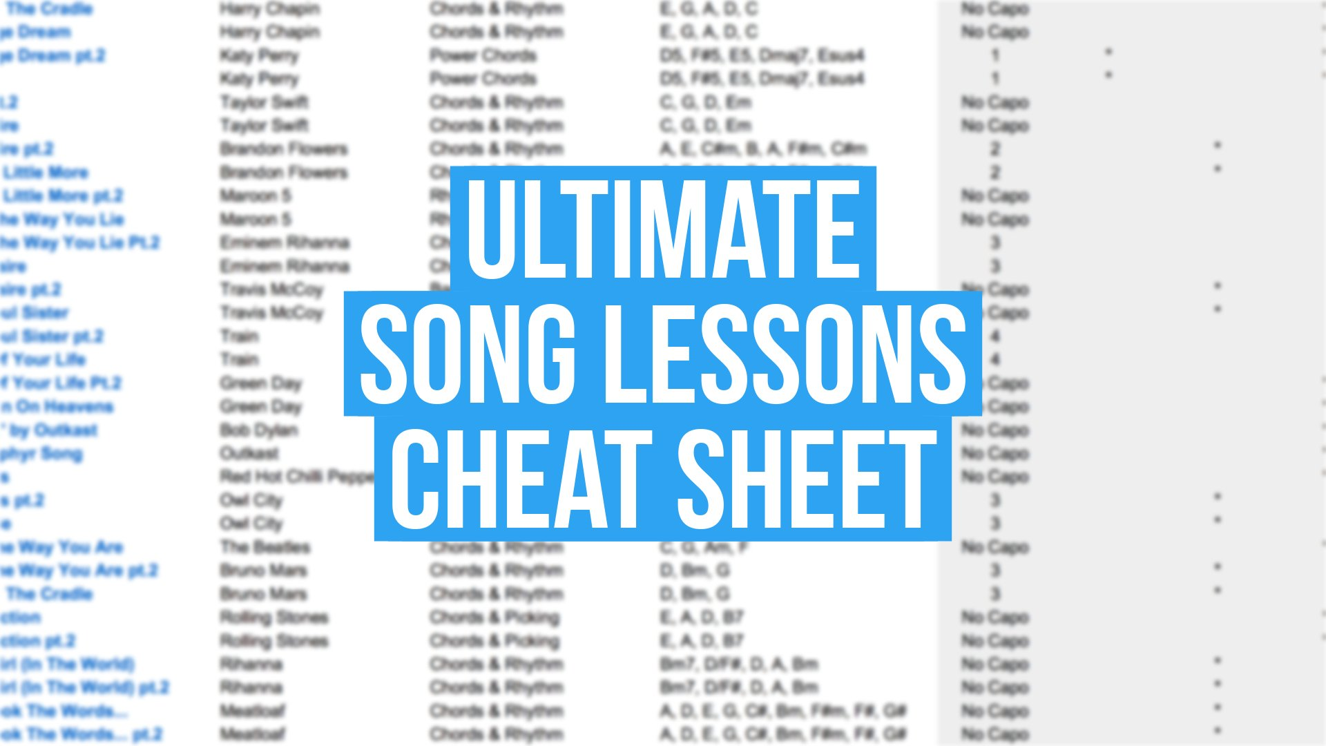 Ultimate Song Lessons Cheat Sheet